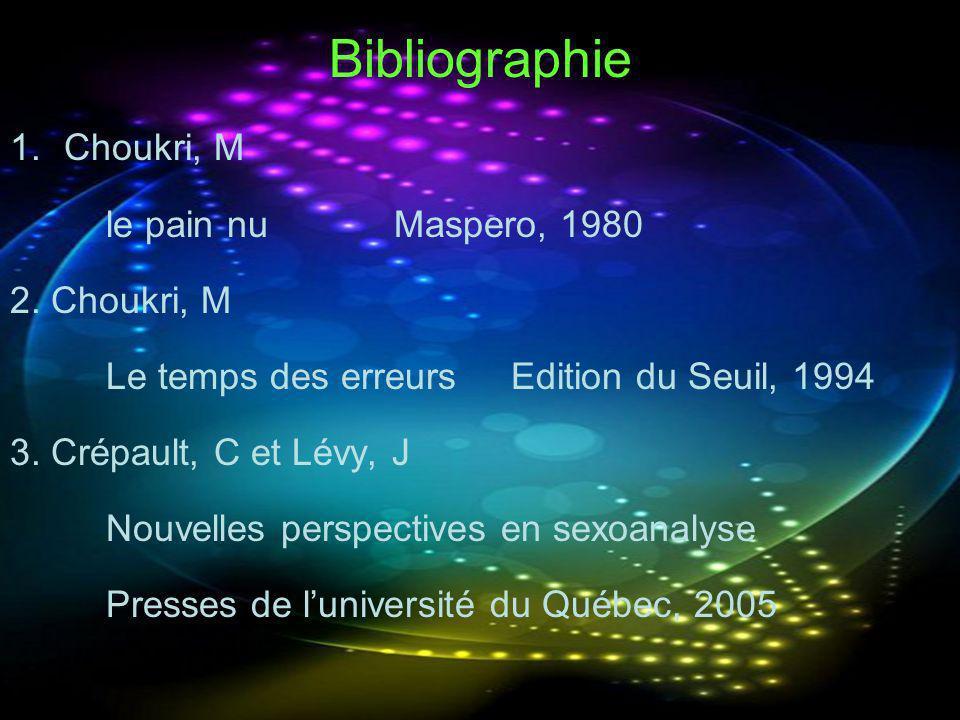 Bibliographie 1.Choukri, M le pain nuMaspero, 1980 2. Choukri, M Le temps des erreurs Edition du Seuil, 1994 3. Crépault, C et Lévy, J Nouvelles persp