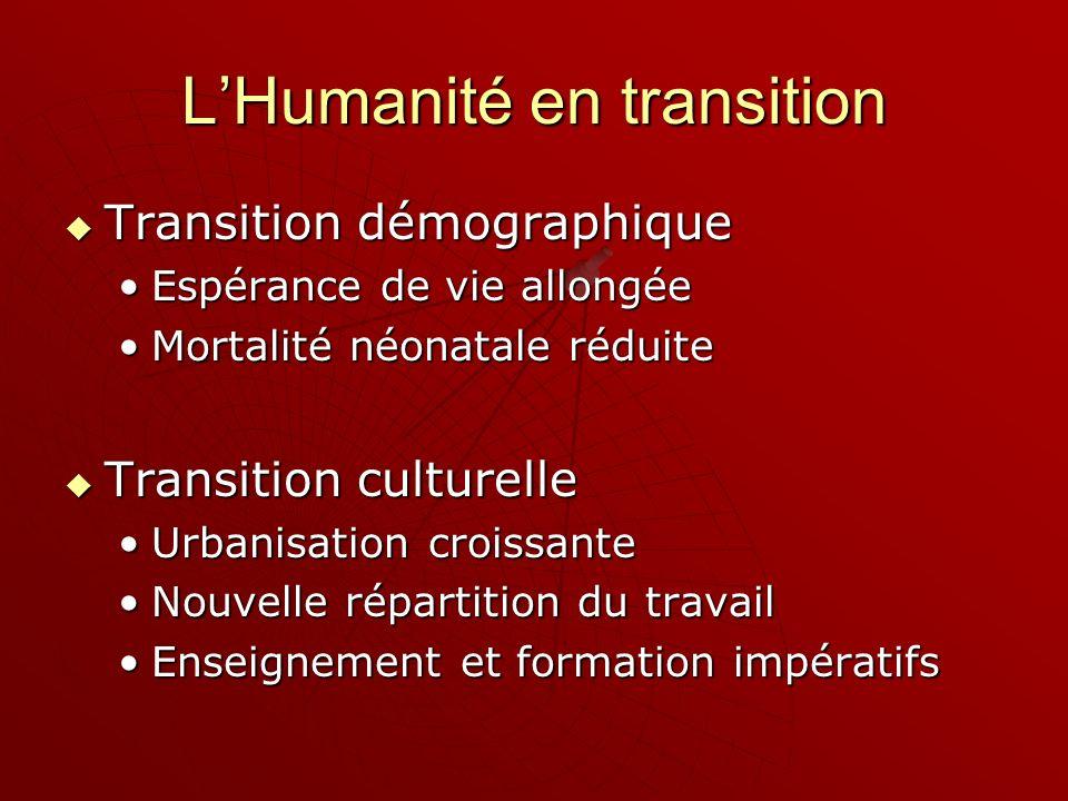 LHumanité en transition Transition démographique Transition démographique Espérance de vie allongéeEspérance de vie allongée Mortalité néonatale rédui