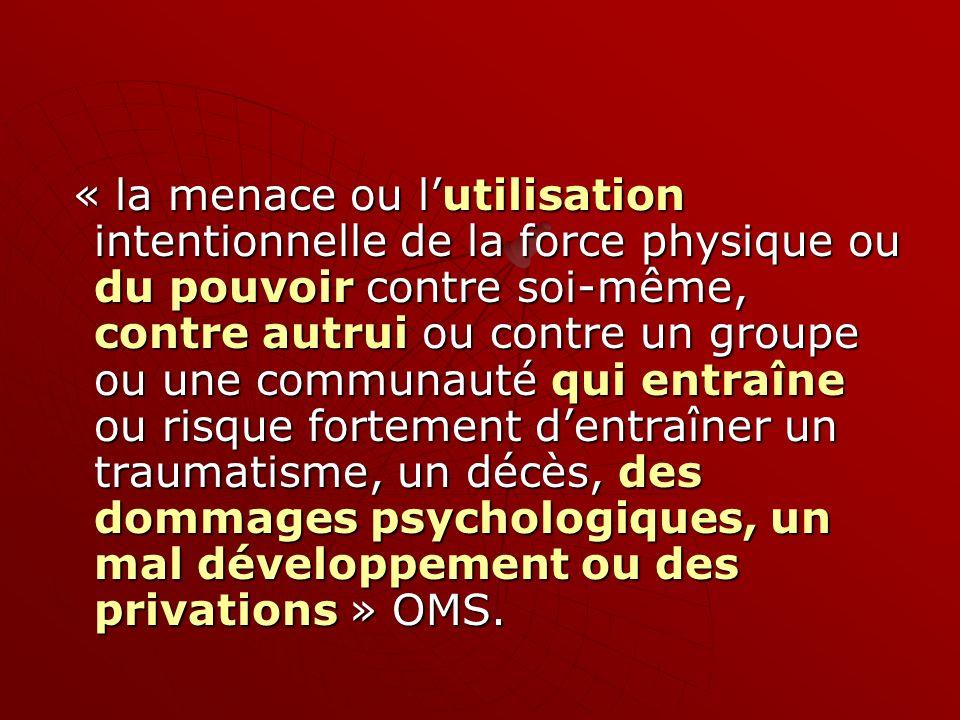 « la menace ou lutilisation intentionnelle de la force physique ou du pouvoir contre soi-même, contre autrui ou contre un groupe ou une communauté qui