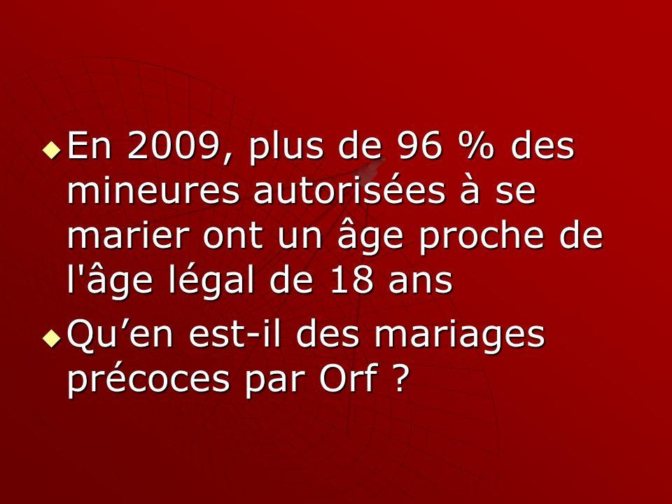 En 2009, plus de 96 % des mineures autorisées à se marier ont un âge proche de l'âge légal de 18 ans En 2009, plus de 96 % des mineures autorisées à s