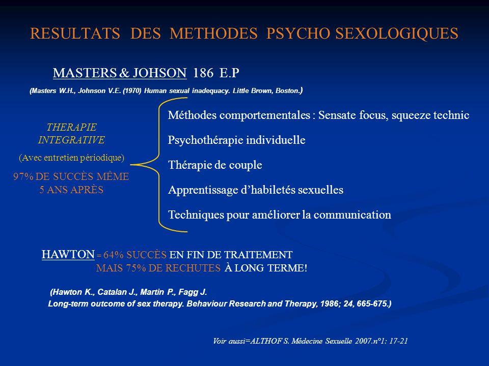 RESULTATS DES METHODES PSYCHO SEXOLOGIQUES MASTERS & JOHSON 186 E.P THERAPIE INTEGRATIVE (Avec entretien périodique) 97% DE SUCCÈS MÊME 5 ANS APRÈS Mé
