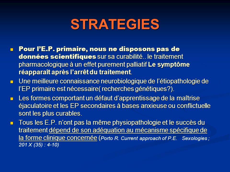 STRATEGIES Pour lE.P. primaire, nous ne disposons pas de données scientifiques sur sa curabilité.. le traitement pharmacologique à un effet purement p