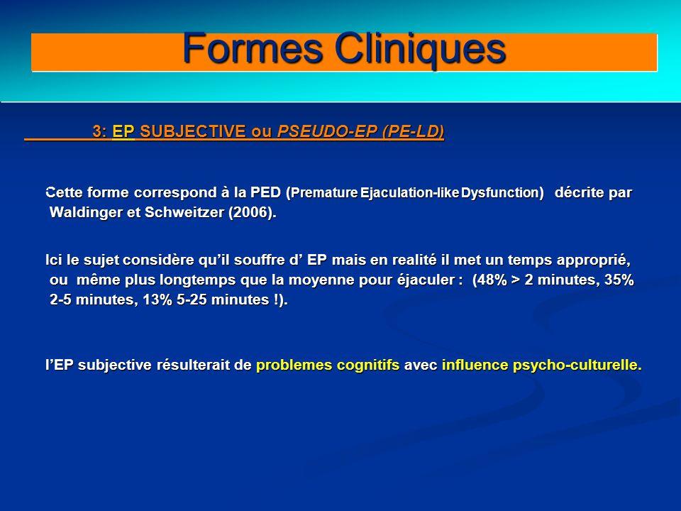 Behavioral therapy for PE 3: EP SUBJECTIVE ou PSEUDO-EP (PE-LD) Cette forme correspond à la PED ( Premature Ejaculation-like Dysfunction ) décrite par