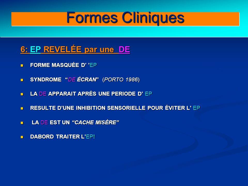 Clinical forms (III) 6: EP REVELÉE par une DE FORME MASQUÉE D EP FORME MASQUÉE D EP SYNDROME DE ÉCRAN (PORTO 1986) SYNDROME DE ÉCRAN (PORTO 1986) LA D