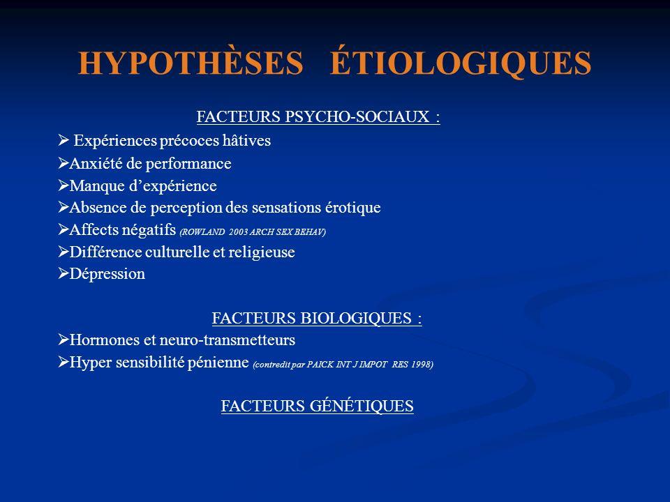 HYPOTHÈSES ÉTIOLOGIQUES FACTEURS PSYCHO-SOCIAUX : Expériences précoces hâtives Anxiété de performance Manque dexpérience Absence de perception des sen
