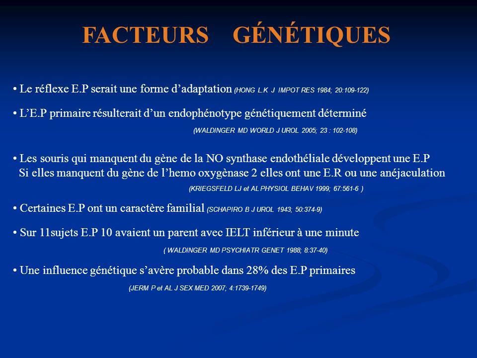 FACTEURS GÉNÉTIQUES Le réflexe E.P serait une forme dadaptation (HONG L.K J IMPOT RES 1984; 20:109-122) LE.P primaire résulterait dun endophénotype gé