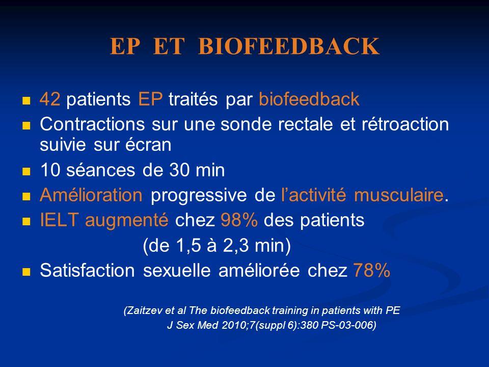 EP ET BIOFEEDBACK 42 patients EP traités par biofeedback Contractions sur une sonde rectale et rétroaction suivie sur écran 10 séances de 30 min Améli