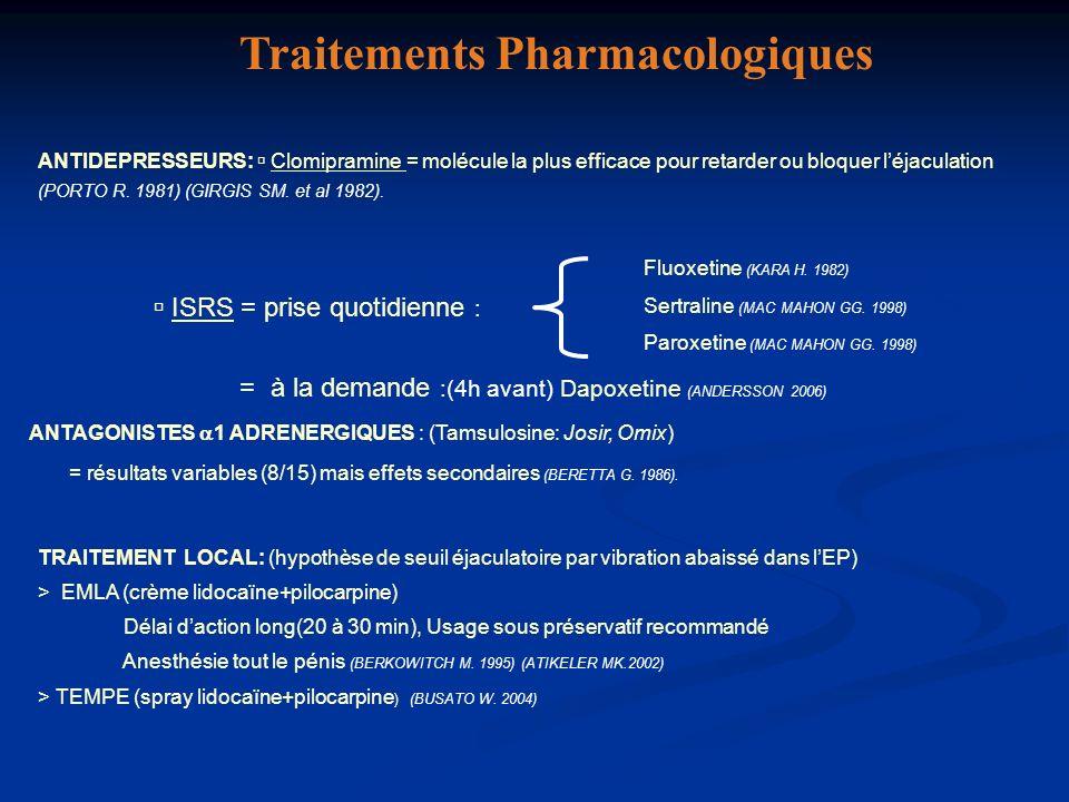 ANTIDEPRESSEURS: Clomipramine = molécule la plus efficace pour retarder ou bloquer léjaculation (PORTO R. 1981) (GIRGIS SM. et al 1982). Fluoxetine (K