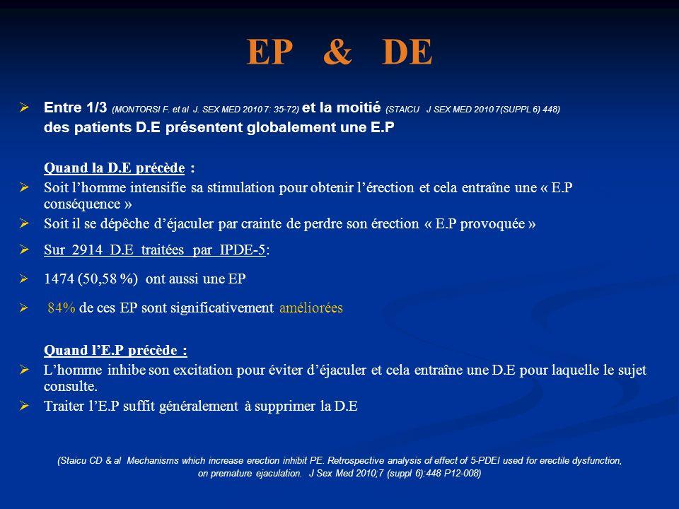 EP & DE Entre 1/3 (MONTORSI F. et al J. SEX MED 2010 7: 35-72) et la moitié (STAICU J SEX MED 2010 7(SUPPL 6) 448) des patients D.E présentent globale