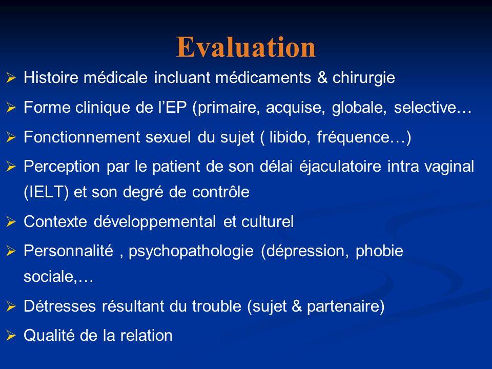 Evaluation Histoire médicale incluant médicaments & chirurgie Forme clinique de lEP (primaire, acquise, globale, selective… Fonctionnement sexuel du s
