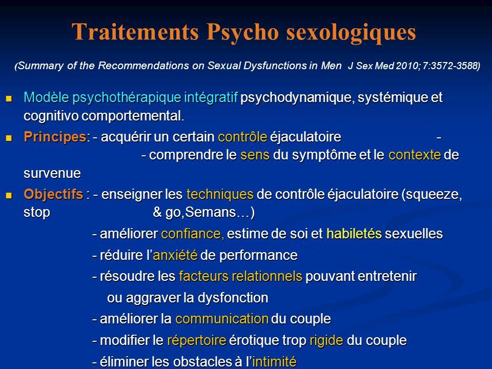 METHODES THERAPEUTIQUES PSYCHOLOGIQUES Sensate focus Squeeze technique (M & J 1970) Stop & go (Semans 1956; Kaplan 1974) Modulation de lexcitation par gestuelle coïtale spécifique (Kempeners 2004) Biblio thérapie (De Sutter 2002) Relaxation, hypnose : Désensibilisation systématique Thérapies psycho - corporelles: Psychanalyse : Résoudre un conflit Oedipien Thérapie daffirmation de soi; Psychothérapie intégrative (psychodynamique, systèmique, cognitivo-comportementale) Diminuer lanxiété de performance du patient Renforcer son estime personnelle Traiter les conséquences psychologiques et sexuelles de lEP Sexotherapie de couple :- Prendre en charge les facteurs inhérents à la partenaire & les conséquences de lE.P - Améliorer la communication affective et sensorielle.