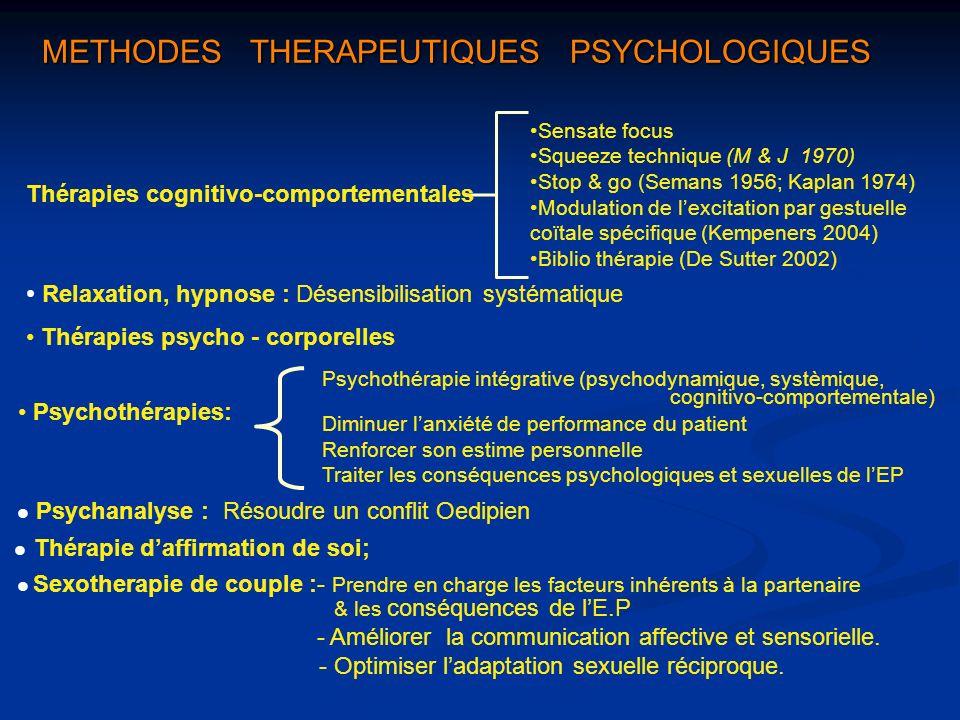 METHODES THERAPEUTIQUES PSYCHOLOGIQUES Sensate focus Squeeze technique (M & J 1970) Stop & go (Semans 1956; Kaplan 1974) Modulation de lexcitation par