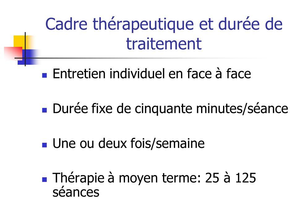Cadre thérapeutique et durée de traitement Entretien individuel en face à face Durée fixe de cinquante minutes/séance Une ou deux fois/semaine Thérapi