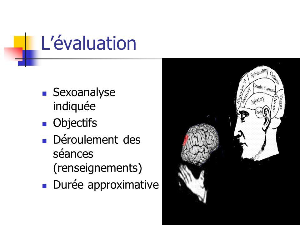 Lévaluation Sexoanalyse indiquée Objectifs Déroulement des séances (renseignements) Durée approximative