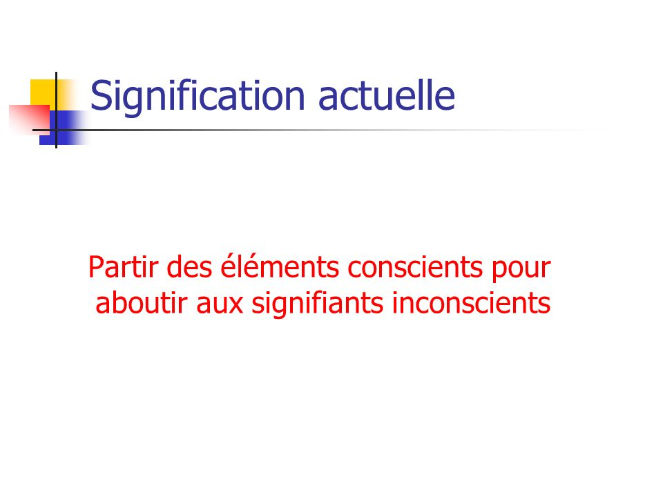 Signification actuelle Partir des éléments conscients pour aboutir aux signifiants inconscients