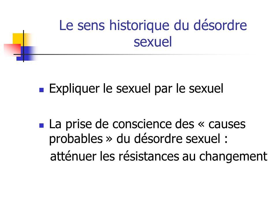 Le sens historique du désordre sexuel Expliquer le sexuel par le sexuel La prise de conscience des « causes probables » du désordre sexuel : atténuer