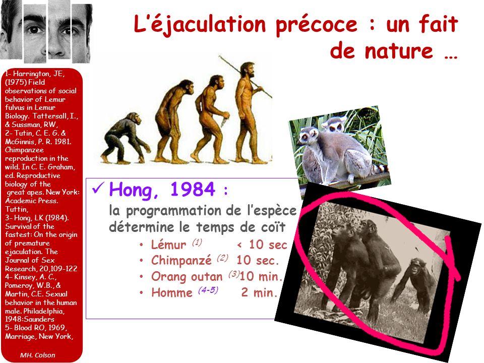 MH. Colson Léjaculation précoce : un fait de nature … Hong, 1984 : la programmation de lespèce détermine le temps de coït Lémur (1) < 10 sec Chimpanzé