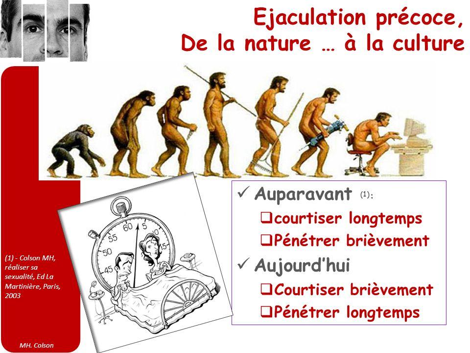MH. Colson Ejaculation précoce, De la nature … à la culture Auparavant (1) : courtiser longtemps Pénétrer brièvement Aujourdhui Courtiser brièvement P