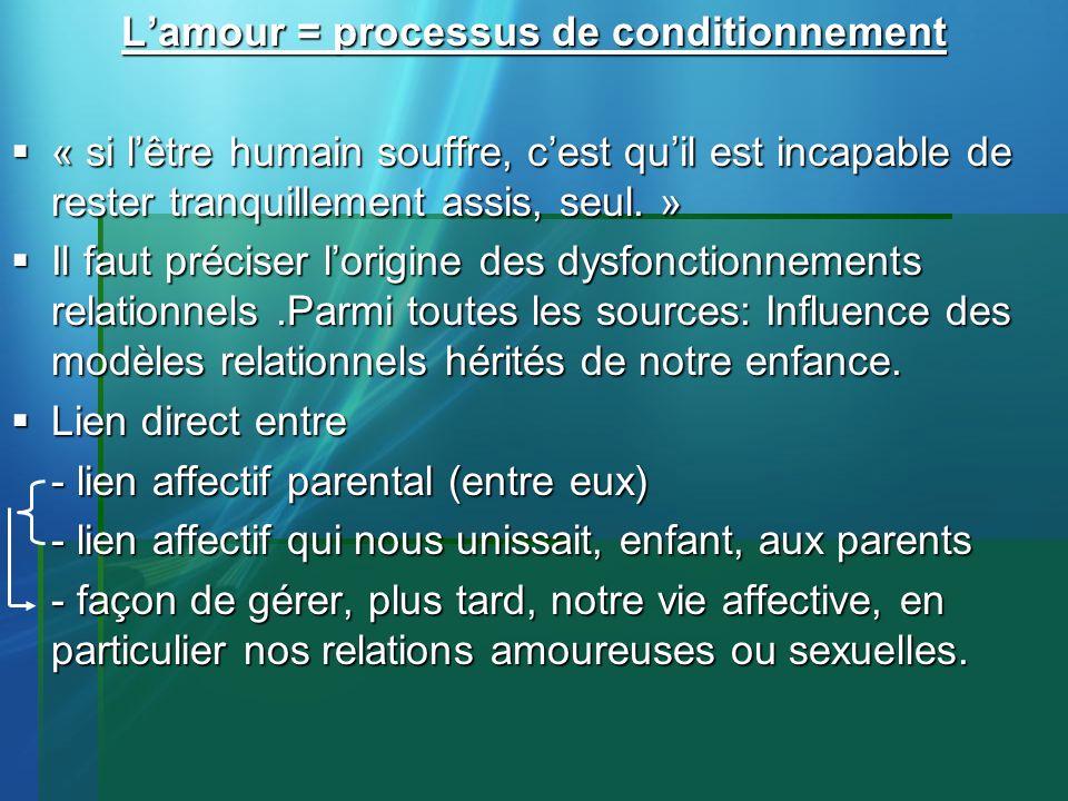 Lamour = processus de conditionnement « si lêtre humain souffre, cest quil est incapable de rester tranquillement assis, seul. » « si lêtre humain sou