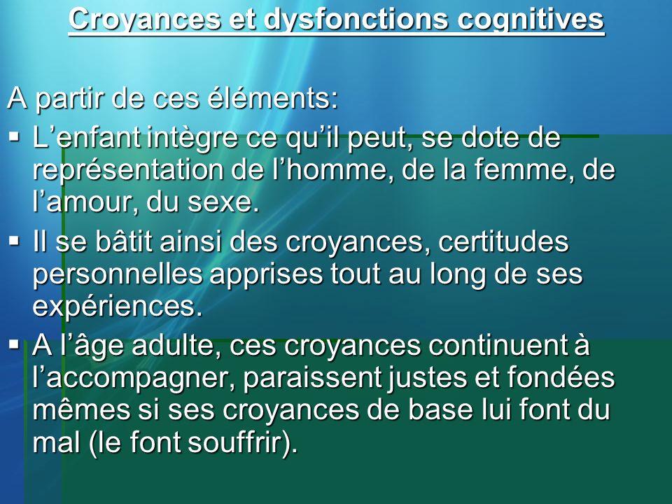 Croyances et dysfonctions cognitives A partir de ces éléments: Lenfant intègre ce quil peut, se dote de représentation de lhomme, de la femme, de lamo
