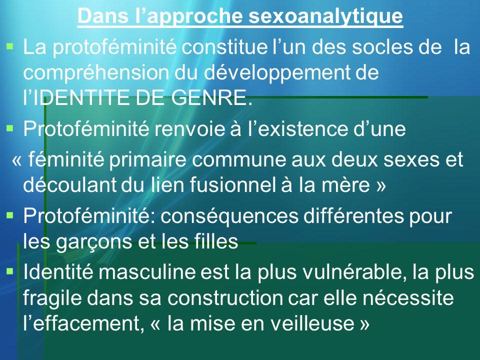 Dans lapproche sexoanalytique La protoféminité constitue lun des socles de la compréhension du développement de lIDENTITE DE GENRE. Protoféminité renv