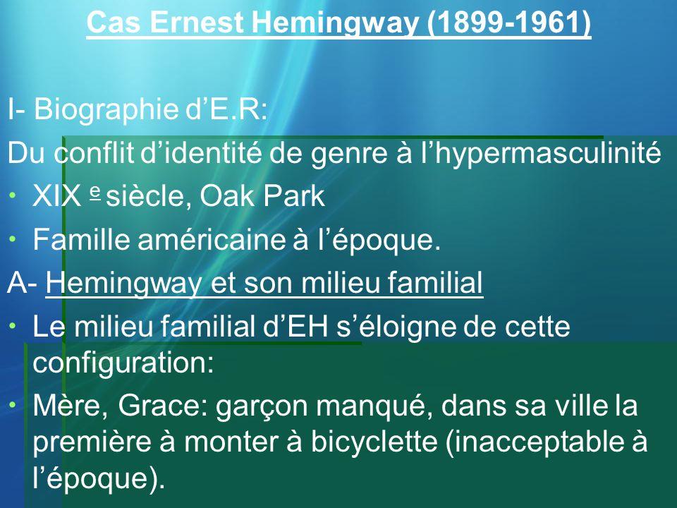 Cas Ernest Hemingway (1899-1961) I- Biographie dE.R: Du conflit didentité de genre à lhypermasculinité XIX e siècle, Oak Park Famille américaine à lép