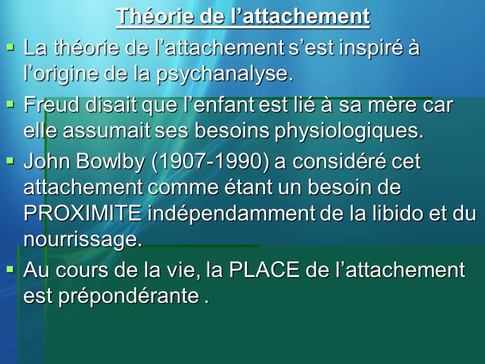 Théorie de lattachement La théorie de lattachement sest inspiré à lorigine de la psychanalyse. La théorie de lattachement sest inspiré à lorigine de l