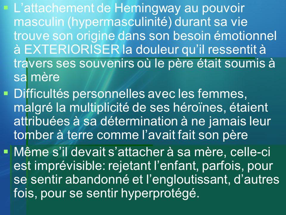 Lattachement de Hemingway au pouvoir masculin (hypermasculinité) durant sa vie trouve son origine dans son besoin émotionnel à EXTERIORISER la douleur