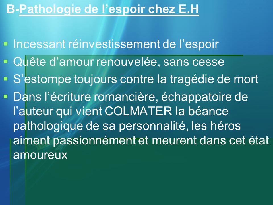 B-Pathologie de lespoir chez E.H Incessant réinvestissement de lespoir Quête damour renouvelée, sans cesse Sestompe toujours contre la tragédie de mor