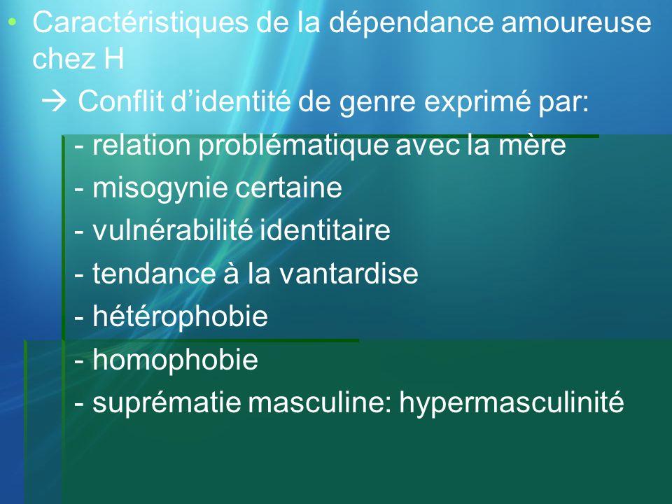Caractéristiques de la dépendance amoureuse chez H Conflit didentité de genre exprimé par: - relation problématique avec la mère - misogynie certaine