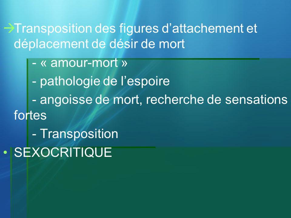 Transposition des figures dattachement et déplacement de désir de mort - « amour-mort » - pathologie de lespoire - angoisse de mort, recherche de sens