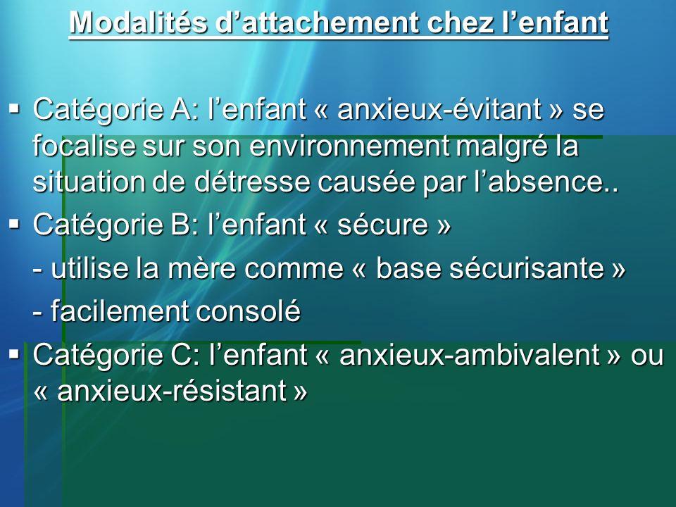 Modalités dattachement chez lenfant Catégorie A: lenfant « anxieux-évitant » se focalise sur son environnement malgré la situation de détresse causée