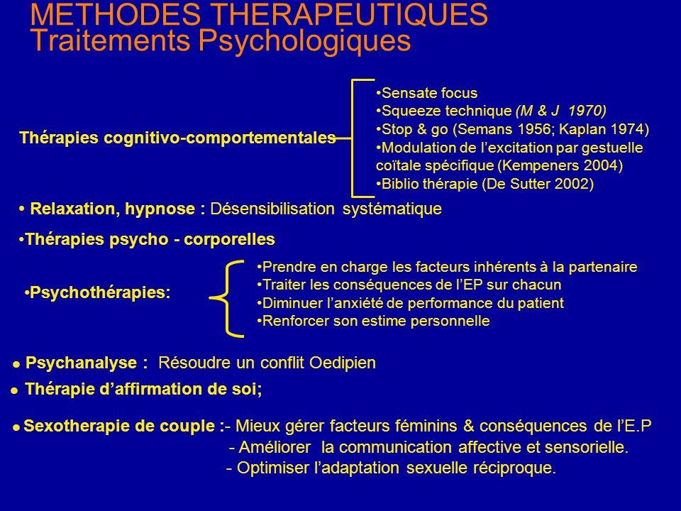 METHODES THERAPEUTIQUES Traitements Psychologiques Sensate focus Squeeze technique (M & J 1970) Stop & go (Semans 1956; Kaplan 1974) Modulation de lex
