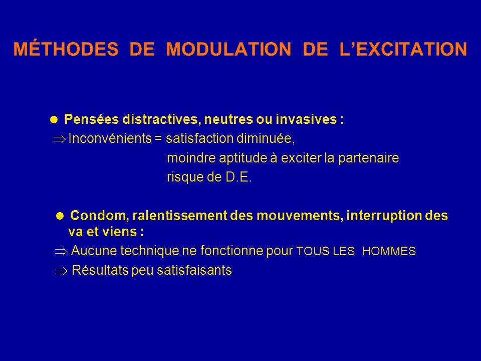 MÉTHODES DE MODULATION DE LEXCITATION Pensées distractives, neutres ou invasives : Inconvénients = satisfaction diminuée, moindre aptitude à exciter l