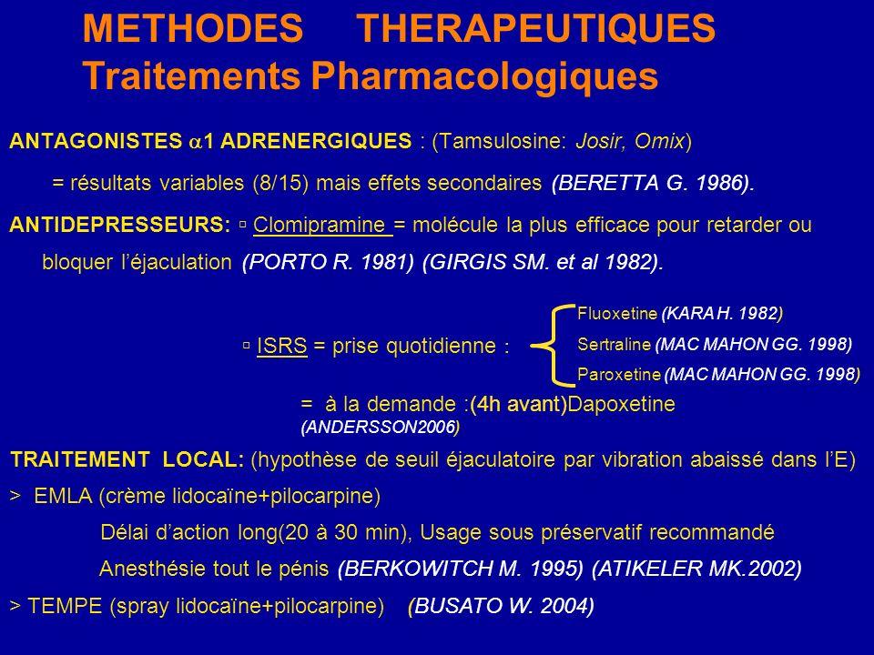 ANTAGONISTES 1 ADRENERGIQUES : (Tamsulosine: Josir, Omix) = résultats variables (8/15) mais effets secondaires (BERETTA G. 1986). ANTIDEPRESSEURS: Clo