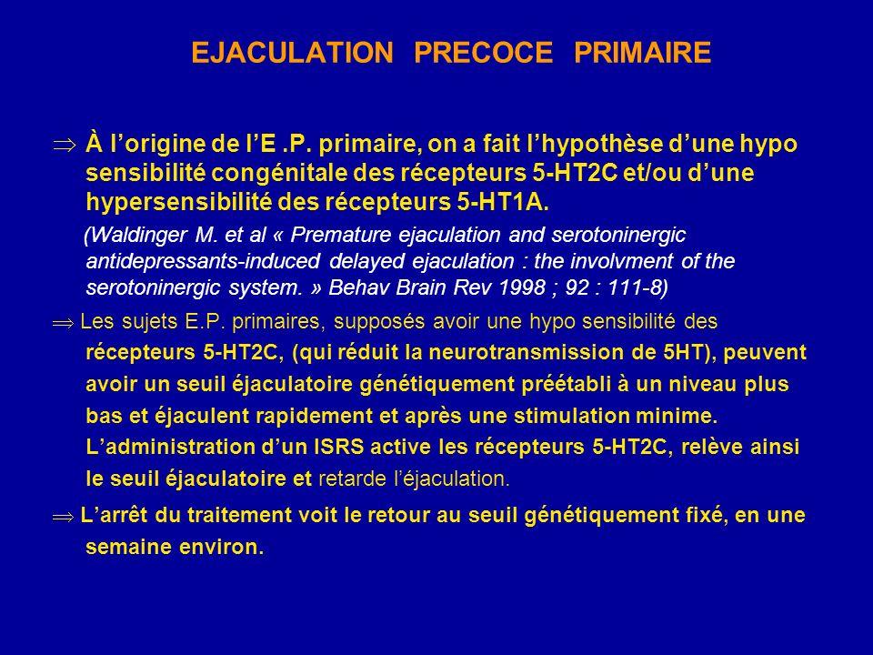 EJACULATION PRECOCE PRIMAIRE À lorigine de lE.P. primaire, on a fait lhypothèse dune hypo sensibilité congénitale des récepteurs 5-HT2C et/ou dune hyp