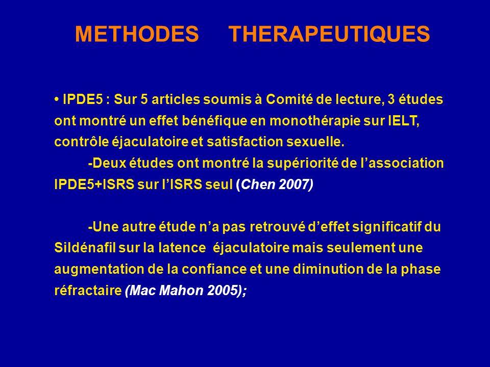 IPDE5 : Sur 5 articles soumis à Comité de lecture, 3 études ont montré un effet bénéfique en monothérapie sur IELT, contrôle éjaculatoire et satisfact