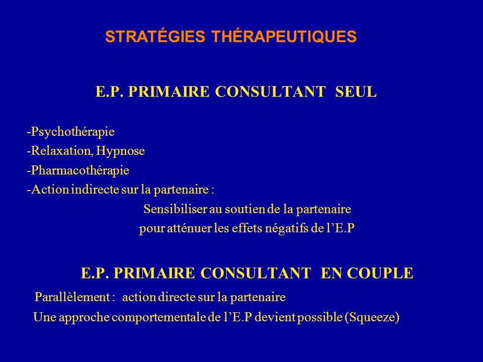 E.P. PRIMAIRE CONSULTANT SEUL -Psychothérapie -Relaxation, Hypnose -Pharmacothérapie -Action indirecte sur la partenaire : Sensibiliser au soutien de