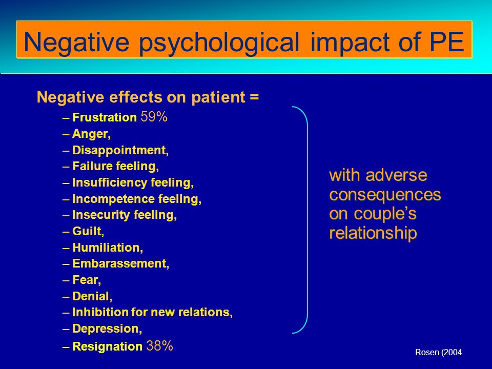 Negative effects on patient = –Frustration 59% –Anger, –Disappointment, –Failure feeling, –Insufficiency feeling, –Incompetence feeling, –Insecurity f