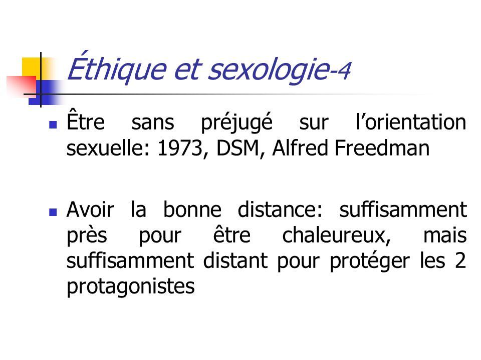Éthique et sexologie -4 Être sans préjugé sur lorientation sexuelle: 1973, DSM, Alfred Freedman Avoir la bonne distance: suffisamment près pour être c