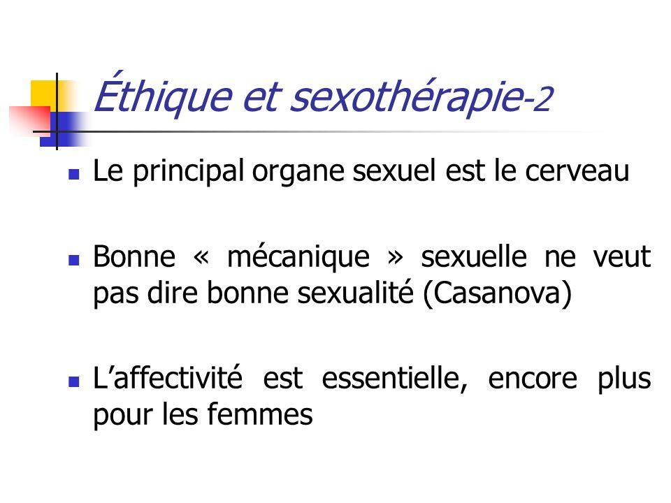 Éthique et sexothérapie -2 Le principal organe sexuel est le cerveau Bonne « mécanique » sexuelle ne veut pas dire bonne sexualité (Casanova) Laffecti