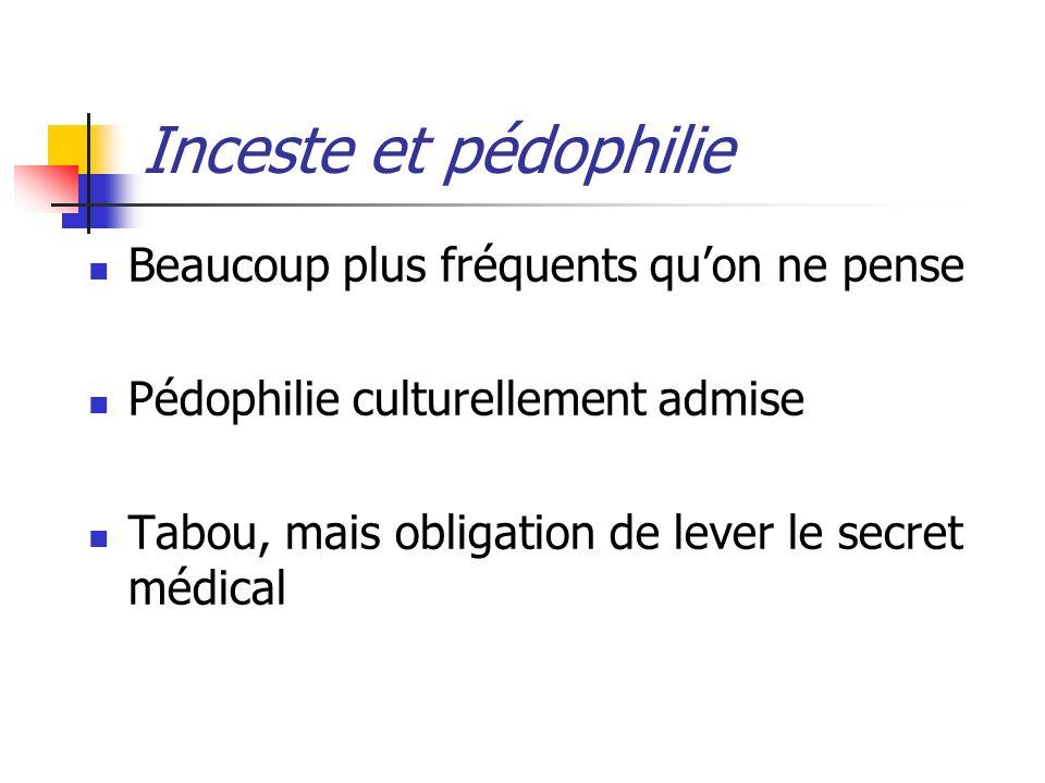 Inceste et pédophilie Beaucoup plus fréquents quon ne pense Pédophilie culturellement admise Tabou, mais obligation de lever le secret médical