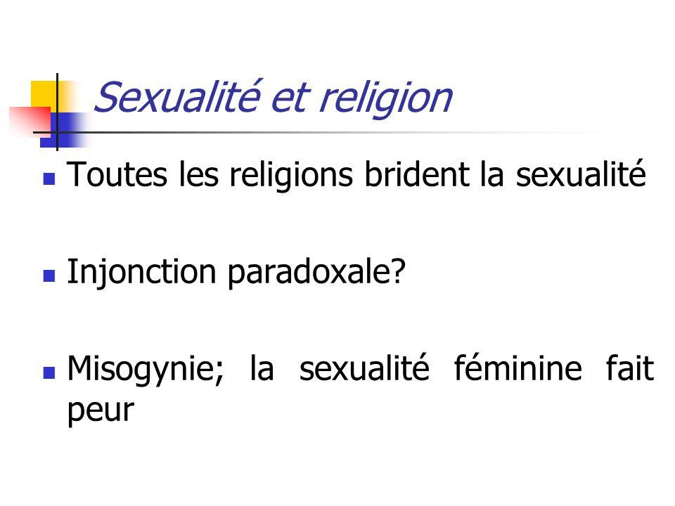 Sexualité et religion Toutes les religions brident la sexualité Injonction paradoxale? Misogynie; la sexualité féminine fait peur