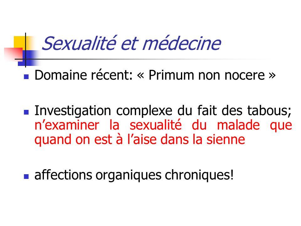 Sexualité et médecine Domaine récent: « Primum non nocere » Investigation complexe du fait des tabous; nexaminer la sexualité du malade que quand on e