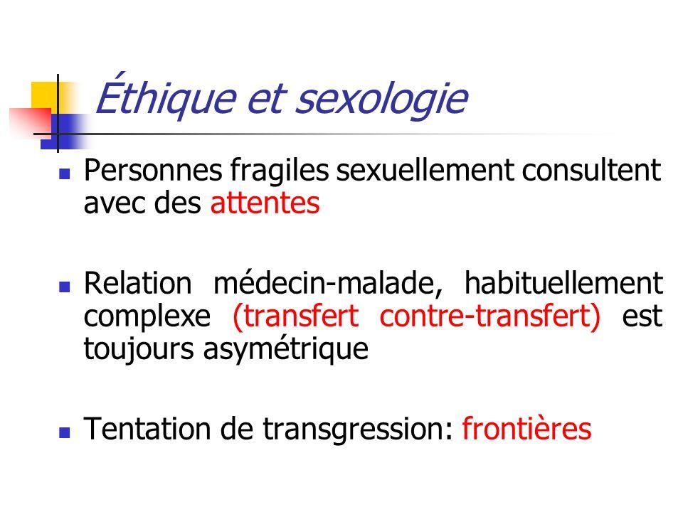 Éthique et sexologie Personnes fragiles sexuellement consultent avec des attentes Relation médecin-malade, habituellement complexe (transfert contre-t
