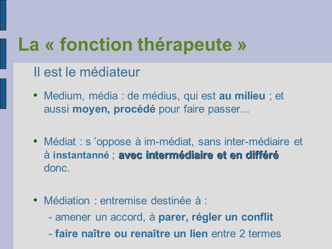 La « fonction thérapeute » Il est le médiateur Medium, média : de médius, qui est au milieu ; et aussi moyen, procédé pour faire passer... avec interm