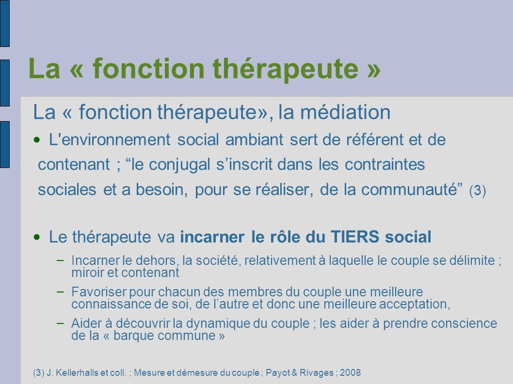 La « fonction thérapeute » La « fonction thérapeute», la médiation L'environnement social ambiant sert de référent et de contenant ; le conjugal sinsc