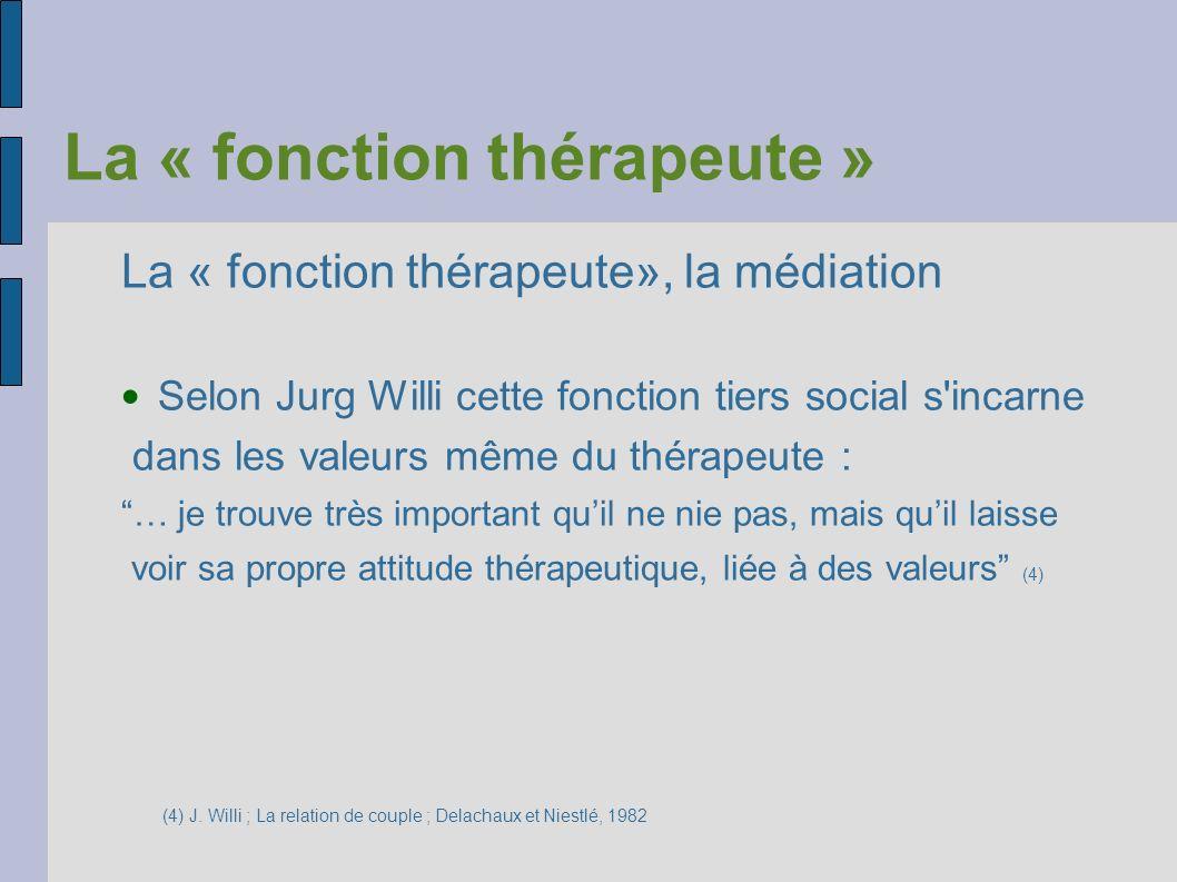 La « fonction thérapeute » La « fonction thérapeute», la médiation Selon Jurg Willi cette fonction tiers social s'incarne dans les valeurs même du thé