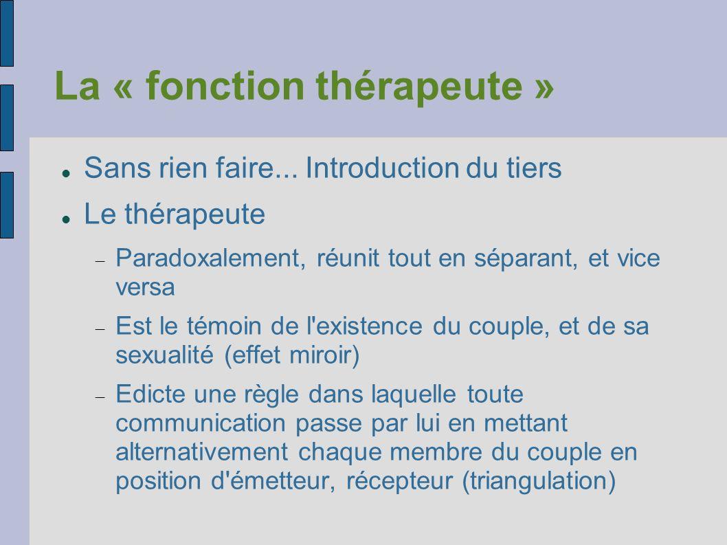 La « fonction thérapeute » Sans rien faire... Introduction du tiers Le thérapeute Paradoxalement, réunit tout en séparant, et vice versa Est le témoin