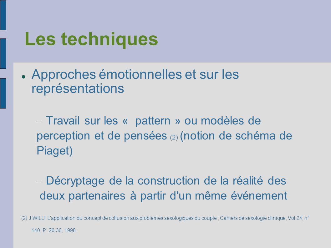 Les techniques Approches émotionnelles et sur les représentations Travail sur les « pattern » ou modèles de perception et de pensées (2) (notion de sc